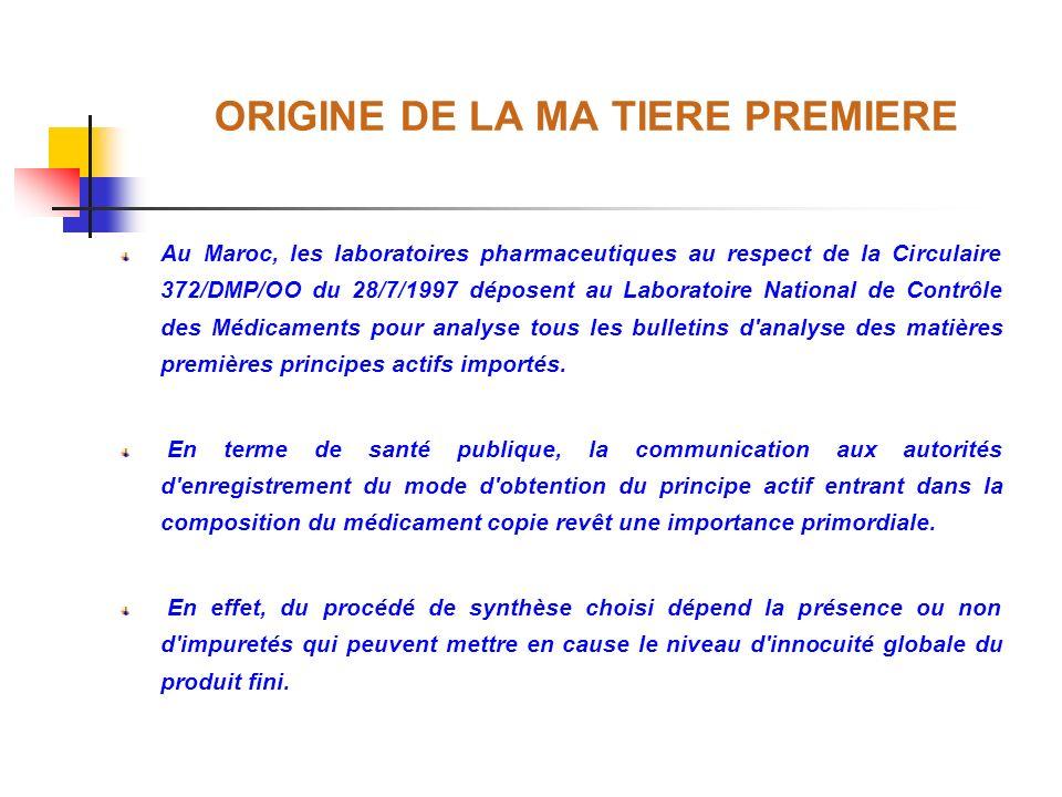 ORIGINE DE LA MA TIERE PREMIERE Au Maroc, les laboratoires pharmaceutiques au respect de la Circulaire 372/DMP/OO du 28/7/1997 déposent au Laboratoire