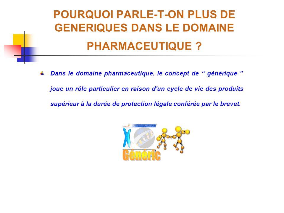POURQUOI PARLE-T-ON PLUS DE GENERIQUES DANS LE DOMAINE PHARMACEUTIQUE ? Dans le domaine pharmaceutique, le concept de générique joue un rôle particuli