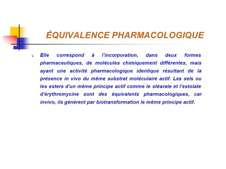 ÉQUIVALENCE PHARMACOLOGIQUE Elle correspond à l'incorporation, dans deux formes pharmaceutiques, de molécules chimiquement différentes, mais ayant une