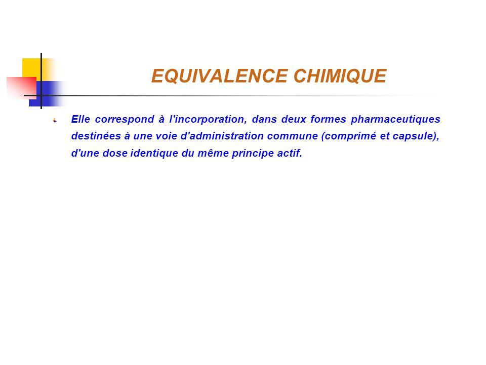 EQUIVALENCE CHIMIQUE Elle correspond à l'incorporation, dans deux formes pharmaceutiques destinées à une voie d'administration commune (comprimé et ca