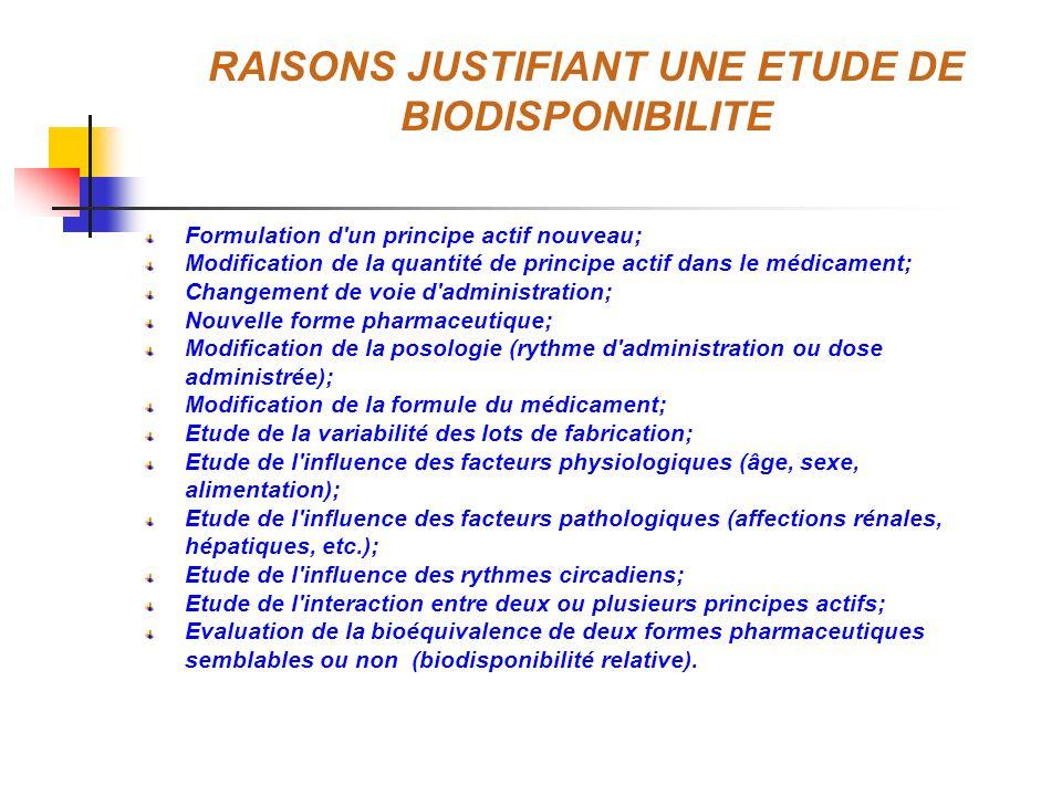 RAISONS JUSTIFIANT UNE ETUDE DE BIODISPONIBILITE Formulation d'un principe actif nouveau; Modification de la quantité de principe actif dans le médica