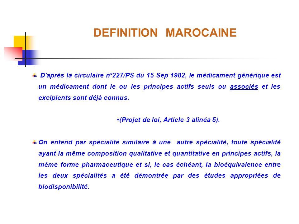 DEFINITION MAROCAINE D'après la circulaire n°227/PS du 15 Sep 1982, le médicament générique est un médicament dont le ou les principes actifs seuls ou
