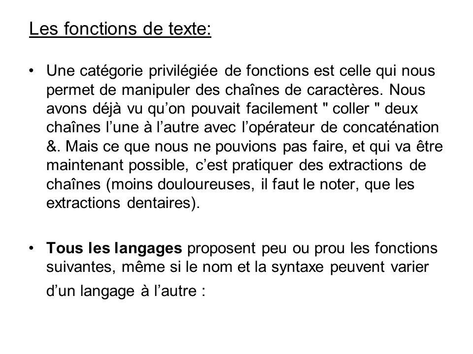 Les fonctions de texte: Une catégorie privilégiée de fonctions est celle qui nous permet de manipuler des chaînes de caractères. Nous avons déjà vu qu