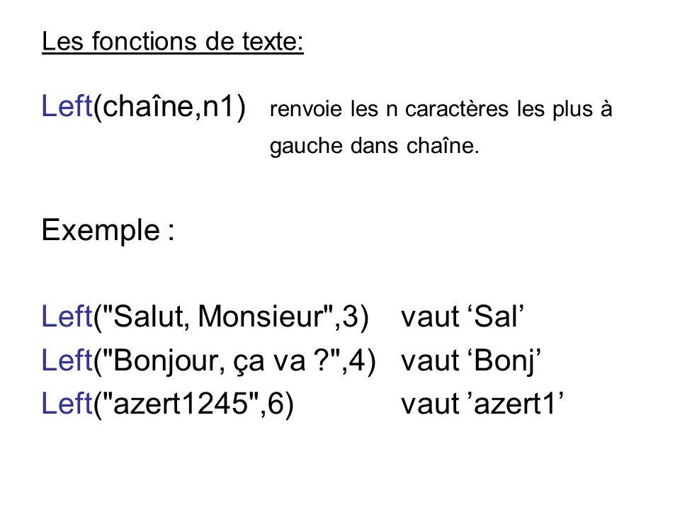Les fonctions de texte: Left(chaîne,n1) renvoie les n caractères les plus à gauche dans chaîne. Exemple : Left(