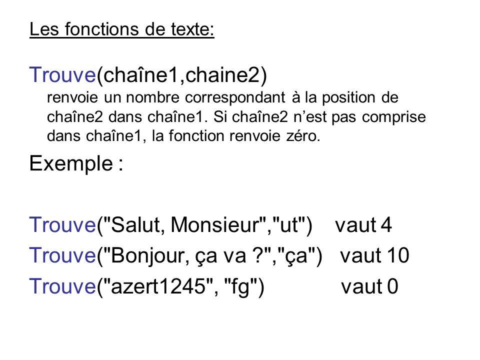 Les fonctions de texte: Trouve(chaîne1,chaine2) renvoie un nombre correspondant à la position de chaîne2 dans chaîne1. Si chaîne2 nest pas comprise da