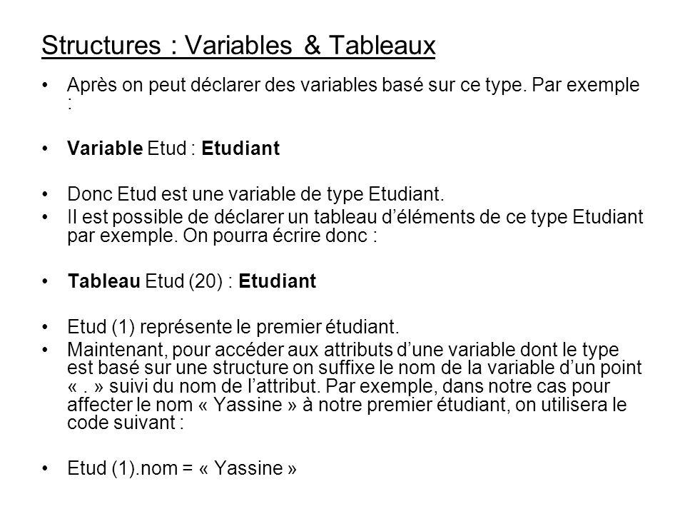 Structures : Variables & Tableaux Après on peut déclarer des variables basé sur ce type. Par exemple : Variable Etud : Etudiant Donc Etud est une vari