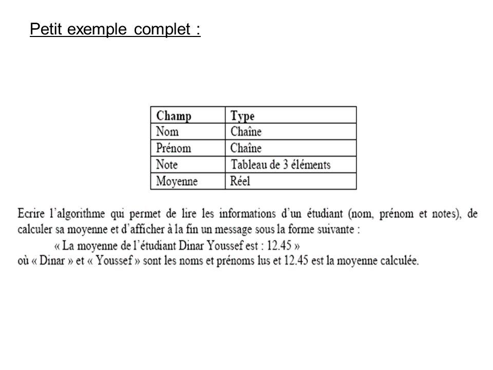 Solution : TYPE Etudiant = STRUCTURE Nom : Chaîne Prenom : Chaîne Note (3) : Réel Moyenne : Réel FIN STRUCTURE Variable i : Entier Variable som : Réel Variable etud : Etudiant DEBUT Ecrire « Entrez le nom » Lire etud.Nom Ecrire « Entrez le prénom » Lire etud.Prenom Ecrire « Entrez la première note » Lire etud.Note (1) Ecrire « Entrez la deuxième note » Lire etud.Note (2) Ecrire « Entrez la troisième note » Lire etud.Note (3) som 0 POUR i = 1 A 3 som som + etud.Note (i) FIN POUR etud.Moyenne som / 3 Ecrire «La moyenne de létudiant », etud.Nom, « », etud.Prenom, « est : », etud.Moyenne »