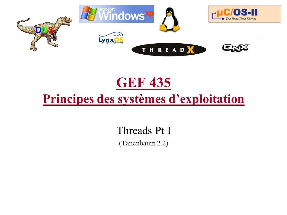 GEF 435 Principes des systèmes dexploitation Threads Pt I (Tanenbaum 2.2)