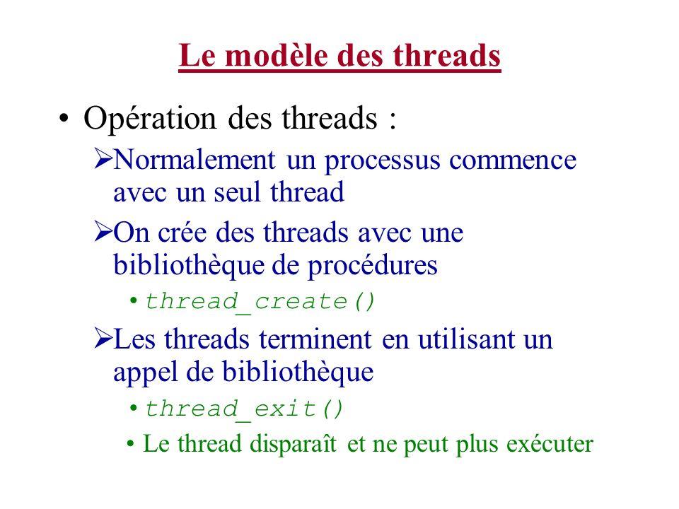 Le modèle des threads Opération des threads : Normalement un processus commence avec un seul thread On crée des threads avec une bibliothèque de procé