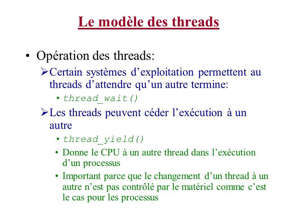 Le modèle des threads Opération des threads: Certain systèmes dexploitation permettent au threads dattendre quun autre termine: thread_wait() Les thre