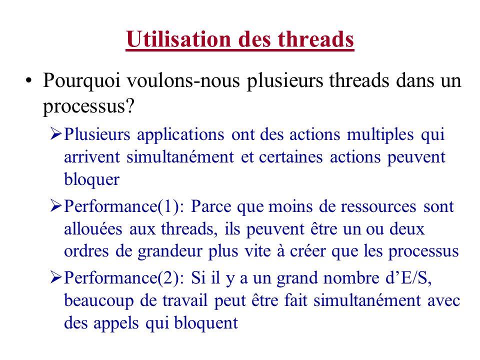 Utilisation des threads Pourquoi voulons-nous plusieurs threads dans un processus? Plusieurs applications ont des actions multiples qui arrivent simul