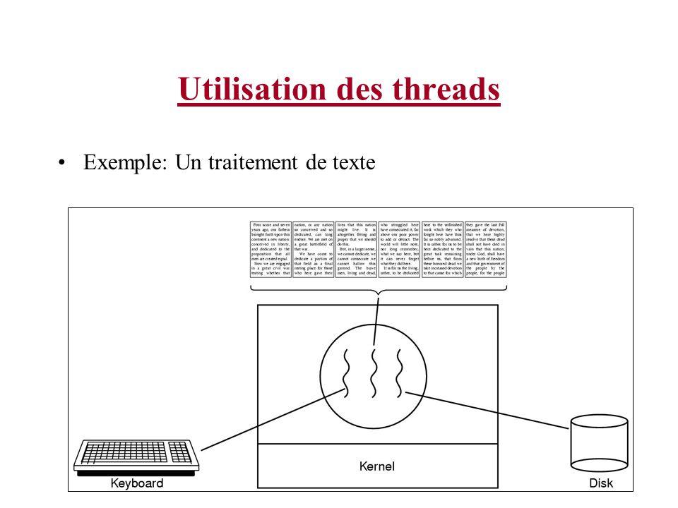 Utilisation des threads Exemple: Un traitement de texte