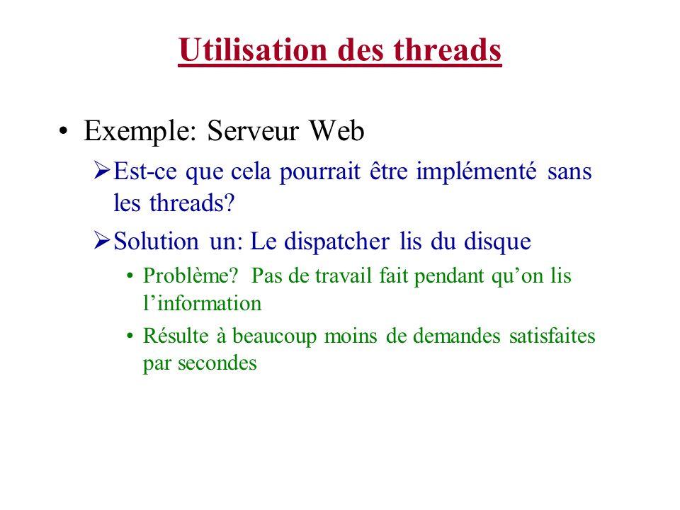 Utilisation des threads Exemple: Serveur Web Est-ce que cela pourrait être implémenté sans les threads? Solution un: Le dispatcher lis du disque Probl