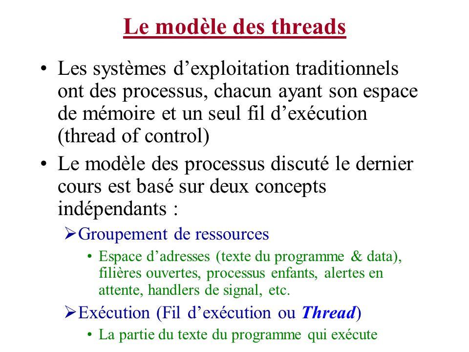 Le modèle des threads Les systèmes dexploitation traditionnels ont des processus, chacun ayant son espace de mémoire et un seul fil dexécution (thread