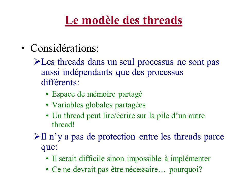 Le modèle des threads Considérations: Les threads dans un seul processus ne sont pas aussi indépendants que des processus différents: Espace de mémoir