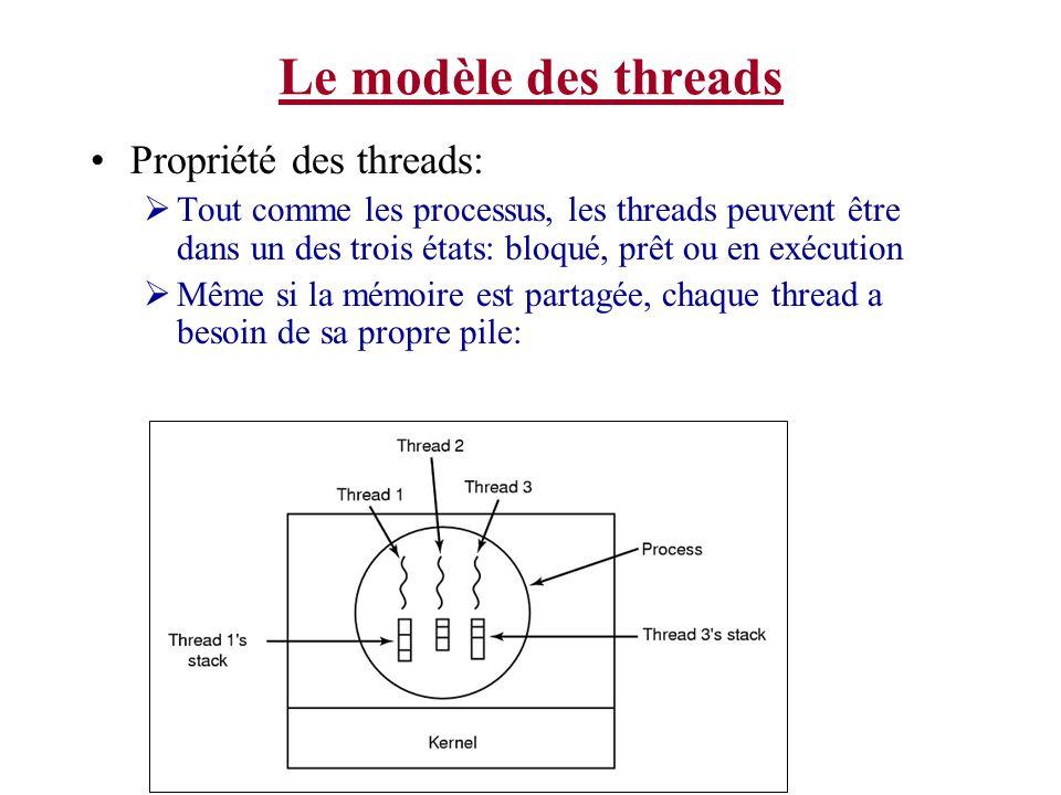 Le modèle des threads Propriété des threads: Tout comme les processus, les threads peuvent être dans un des trois états: bloqué, prêt ou en exécution