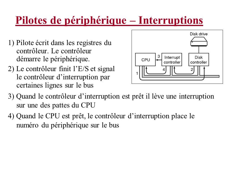 Pilotes de périphérique – Interruptions 1) Pilote écrit dans les registres du contrôleur. Le contrôleur démarre le périphérique. 2) Le contrôleur fini