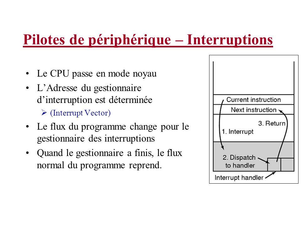 Pilotes de périphérique – Interruptions Le CPU passe en mode noyau LAdresse du gestionnaire dinterruption est déterminée (Interrupt Vector) Le flux du programme change pour le gestionnaire des interruptions Quand le gestionnaire a finis, le flux normal du programme reprend.
