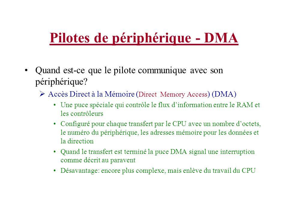 Pilotes de périphérique - DMA Quand est-ce que le pilote communique avec son périphérique? Accès Direct à la Mémoire ( Direct Memory Access ) (DMA) Un