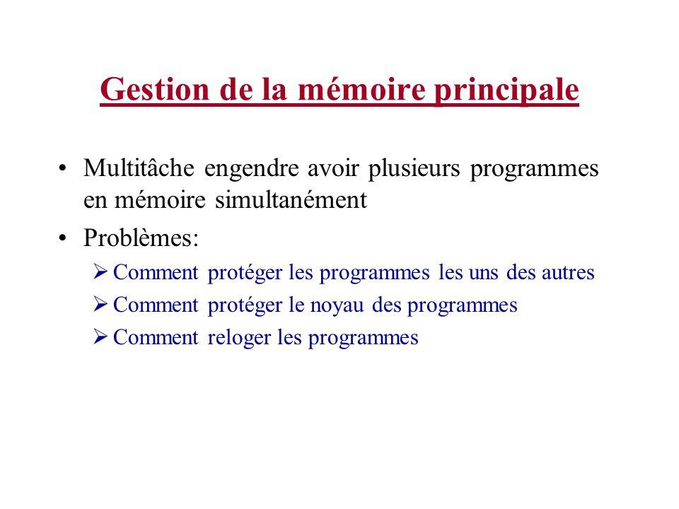 Gestion de la mémoire principale Multitâche engendre avoir plusieurs programmes en mémoire simultanément Problèmes: Comment protéger les programmes les uns des autres Comment protéger le noyau des programmes Comment reloger les programmes