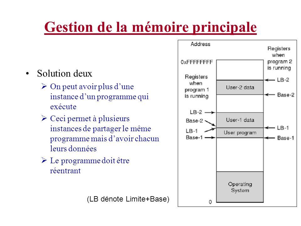 Gestion de la mémoire principale Solution deux On peut avoir plus dune instance dun programme qui exécute Ceci permet à plusieurs instances de partager le même programme mais davoir chacun leurs données Le programme doit être réentrant (LB dénote Limite+Base)