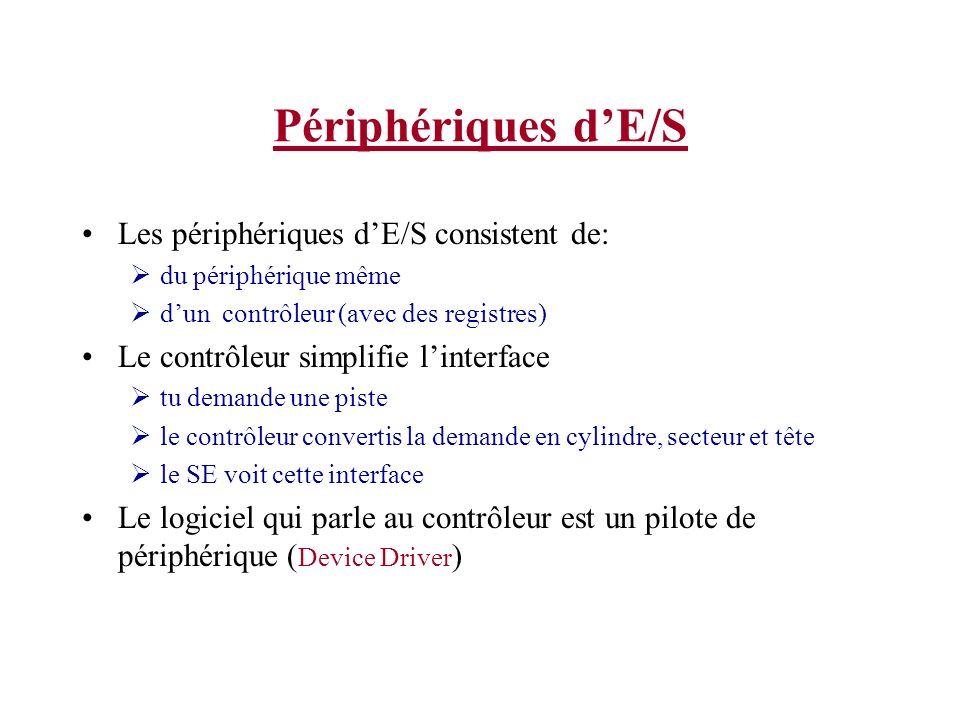 Périphériques dE/S Les périphériques dE/S consistent de: du périphérique même dun contrôleur (avec des registres) Le contrôleur simplifie linterface t