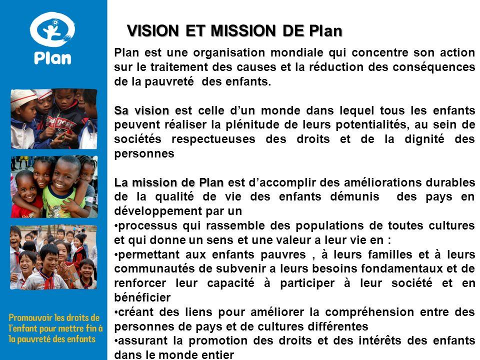 Plan est une organisation mondiale qui concentre son action sur le traitement des causes et la réduction des conséquences de la pauvreté des enfants.