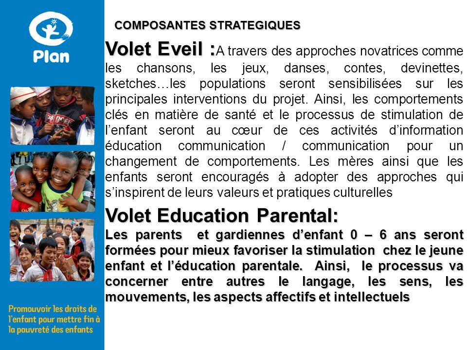 Volet Eveil : Volet Eveil : A travers des approches novatrices comme les chansons, les jeux, danses, contes, devinettes, sketches…les populations seront sensibilisées sur les principales interventions du projet.