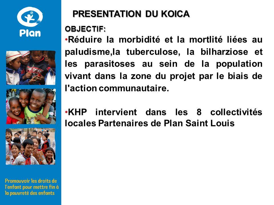 OBJECTIF: Réduire la morbidité et la mortlité liées au paludisme,la tuberculose, la bilharziose et les parasitoses au sein de la population vivant dans la zone du projet par le biais de l action communautaire.