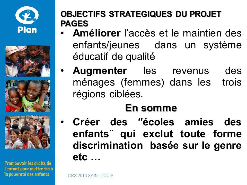 Améliorer laccès et le maintien des enfants/jeunes dans un système éducatif de qualité Augmenter les revenus des ménages (femmes) dans les trois régio