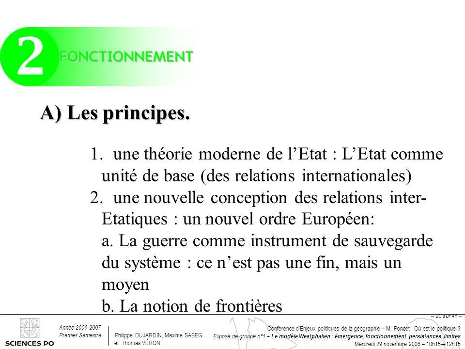 Conférence dEnjeux politiques de la géographie – M. Poncet : Où est le politique ? Exposé de groupe n°1 – Le modèle Westphalien : émergence, fonctionn