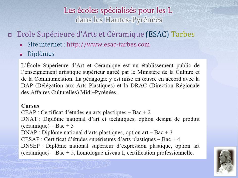 Ecole Supérieure d'Arts et Céramique (ESAC) Tarbes Site internet : http://www.esac-tarbes.com Diplômes