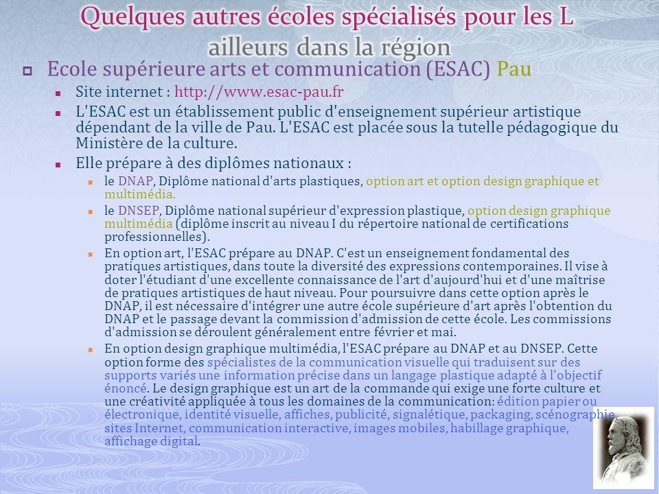 Ecole supérieure arts et communication (ESAC) Pau Site internet : http://www.esac-pau.fr L'ESAC est un établissement public d'enseignement supérieur a