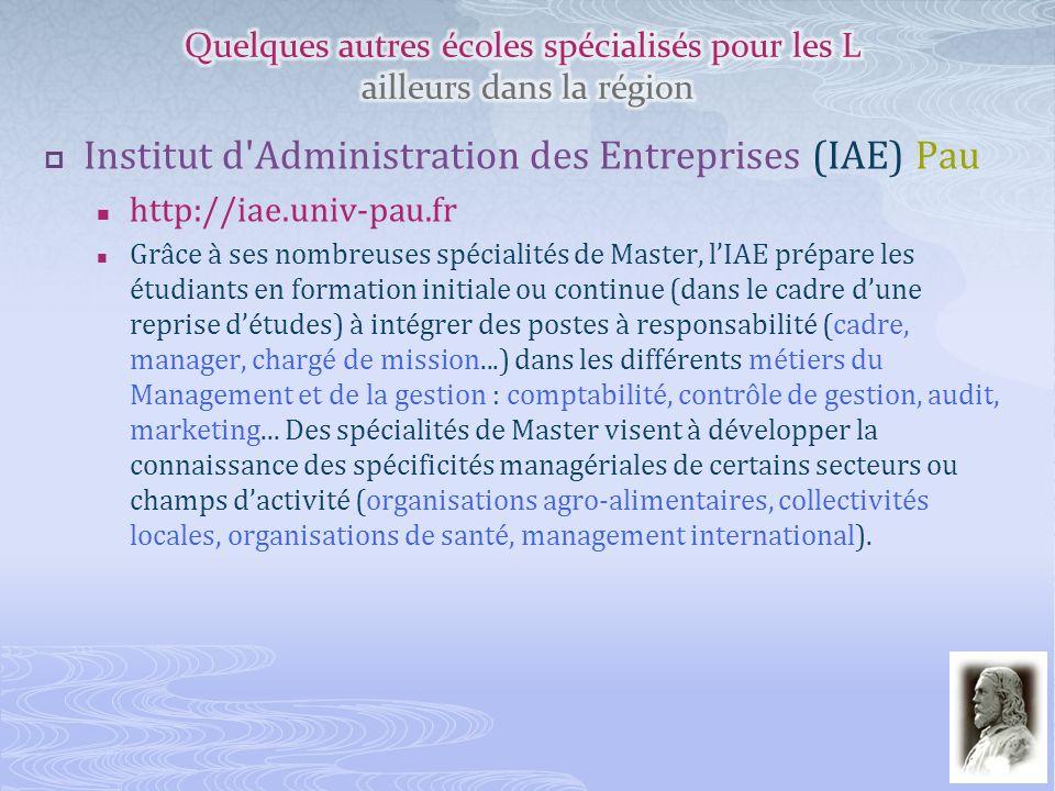 Institut d'Administration des Entreprises (IAE) Pau http://iae.univ-pau.fr Grâce à ses nombreuses spécialités de Master, lIAE prépare les étudiants en