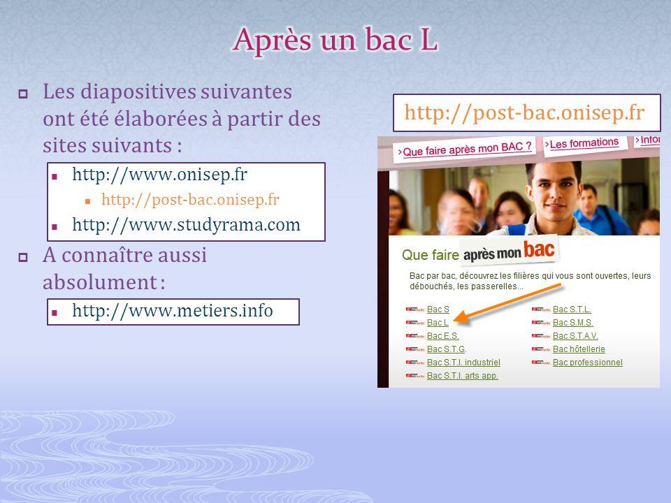 Les diapositives suivantes ont été élaborées à partir des sites suivants : http://www.onisep.fr http://post-bac.onisep.fr http://www.studyrama.com A c