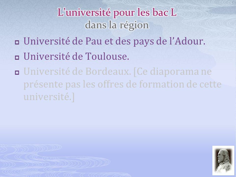 http://www.univ-pau.fr Trois domaines Arts, Lettres, Langues, Sciences Humaines et Sociales.