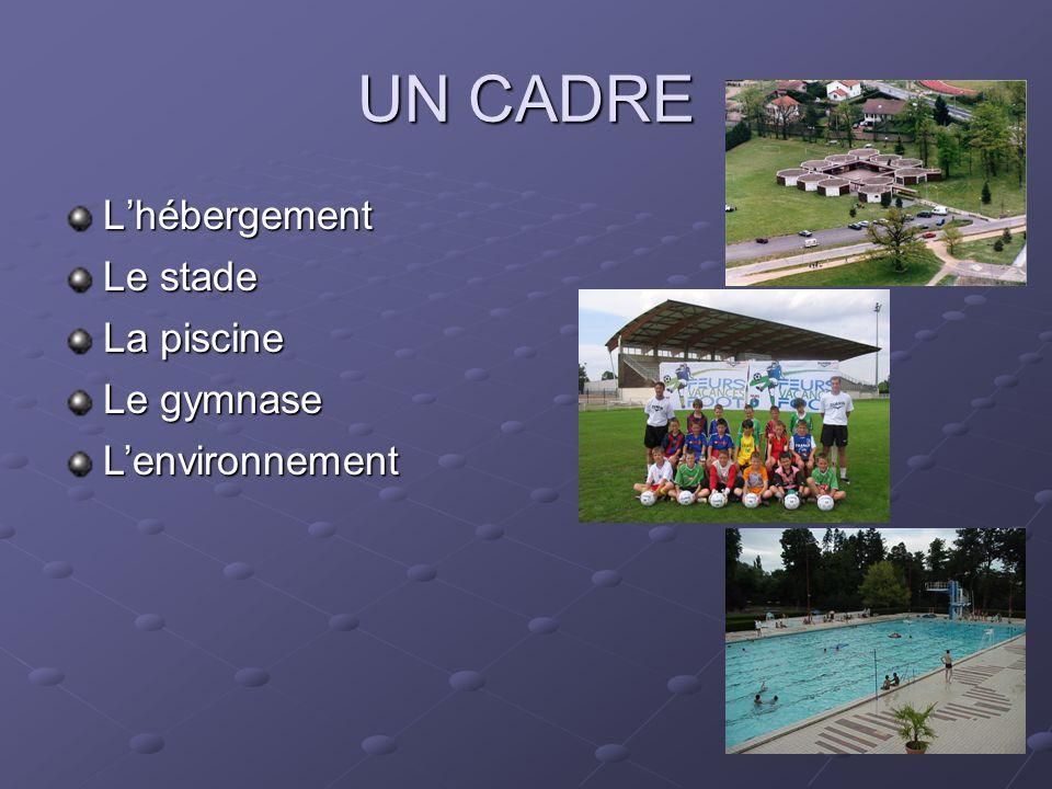 UN CADRE Lhébergement La piscine Lenvironnement Le stade Le gymnase