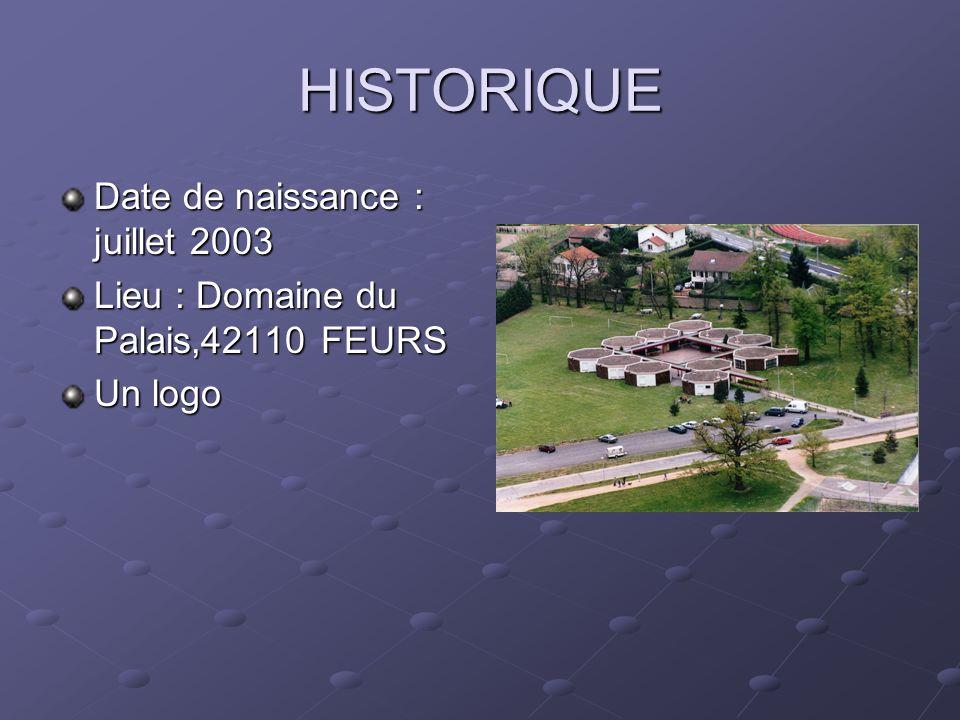 HISTORIQUE Date de naissance : juillet 2003 Lieu : Domaine du Palais,42110 FEURS Un logo