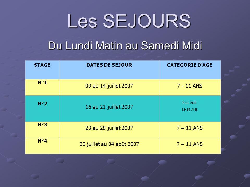 Les SEJOURS Du Lundi Matin au Samedi Midi STAGEDATES DE SEJOURCATEGORIE DAGE N°1 09 au 14 juillet 20077 - 11 ANS N°2 16 au 21 juillet 2007 7-11 ANS 12