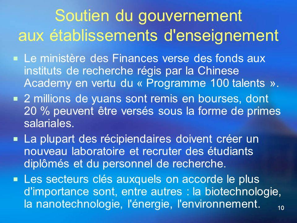 10 Soutien du gouvernement aux établissements d enseignement Le ministère des Finances verse des fonds aux instituts de recherche régis par la Chinese Academy en vertu du « Programme 100 talents ».
