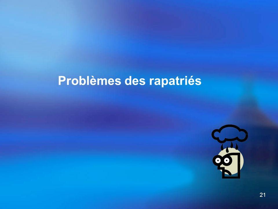 21 Problèmes des rapatriés