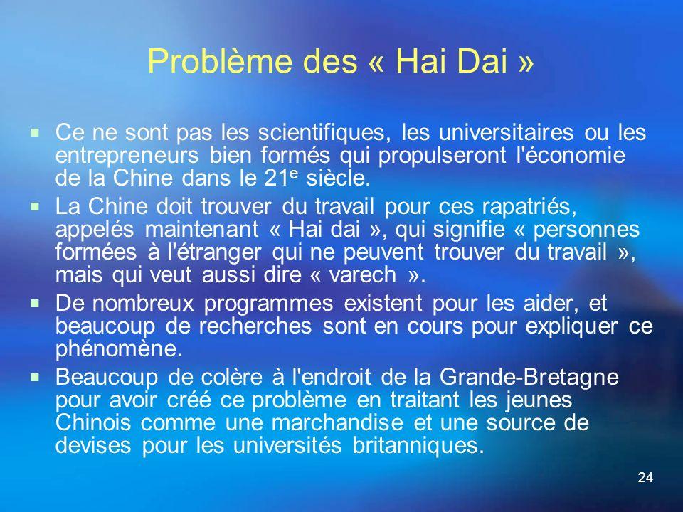 24 Problème des « Hai Dai » Ce ne sont pas les scientifiques, les universitaires ou les entrepreneurs bien formés qui propulseront l économie de la Chine dans le 21 e siècle.