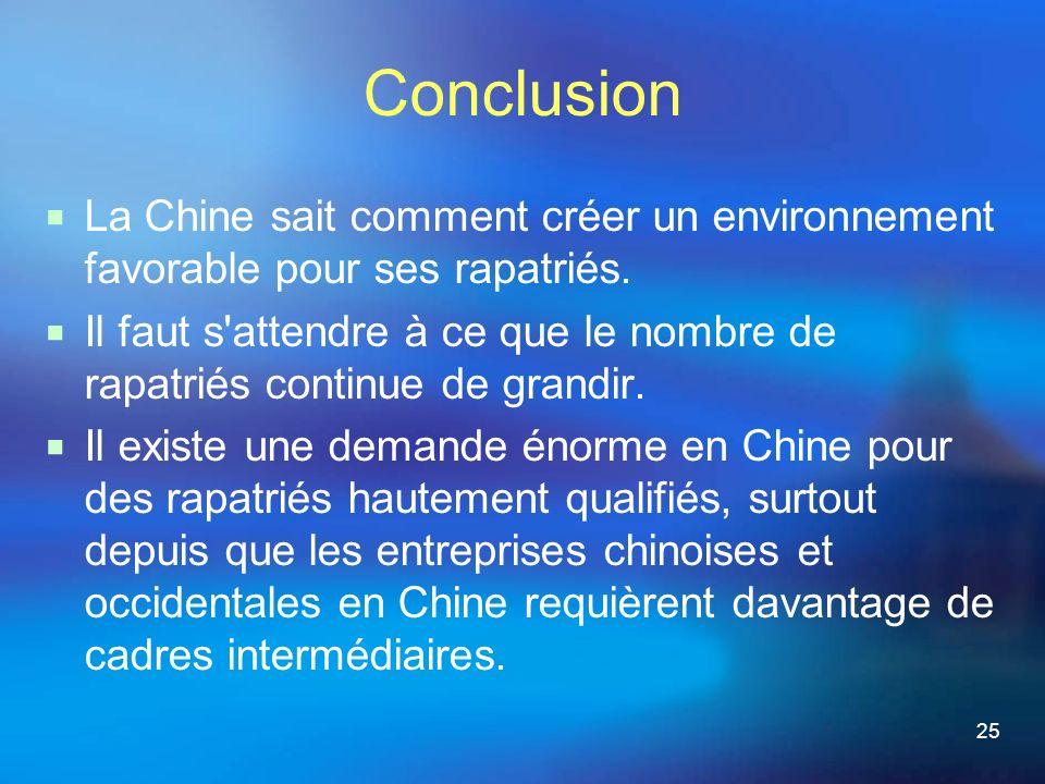 25 Conclusion La Chine sait comment créer un environnement favorable pour ses rapatriés.