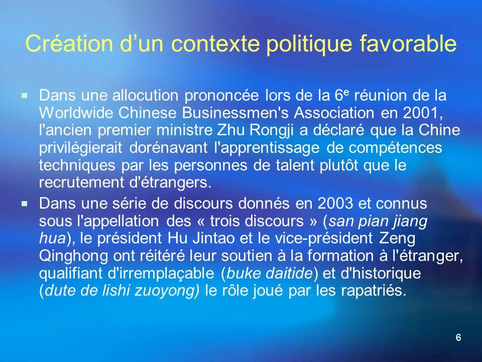 6 Création dun contexte politique favorable Dans une allocution prononcée lors de la 6 e réunion de la Worldwide Chinese Businessmen s Association en 2001, l ancien premier ministre Zhu Rongji a déclaré que la Chine privilégierait dorénavant l apprentissage de compétences techniques par les personnes de talent plutôt que le recrutement d étrangers.