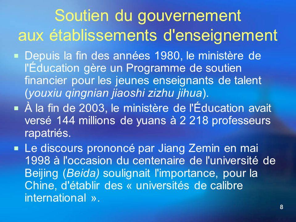 8 Soutien du gouvernement aux établissements d enseignement Depuis la fin des années 1980, le ministère de l Éducation gère un Programme de soutien financier pour les jeunes enseignants de talent (youxiu qingnian jiaoshi zizhu jihua).