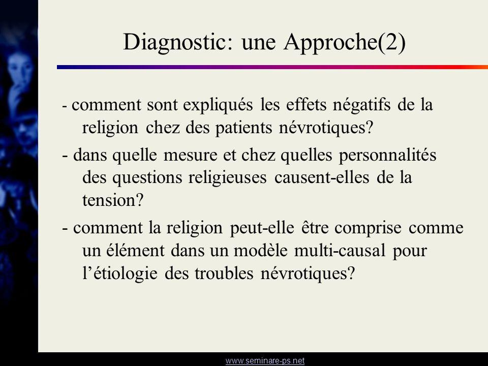 www.seminare-ps.net Diagnostic: une Approche(2) - comment sont expliqués les effets négatifs de la religion chez des patients névrotiques? - dans quel