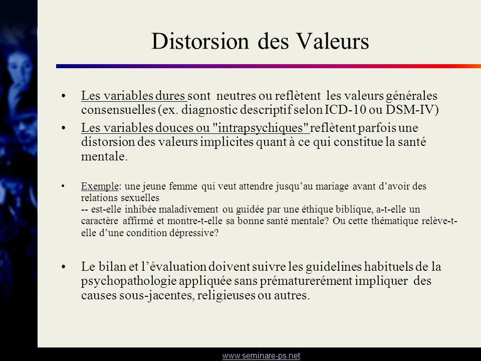 www.seminare-ps.net Distorsion des Valeurs Les variables dures sont neutres ou reflètent les valeurs générales consensuelles (ex. diagnostic descripti