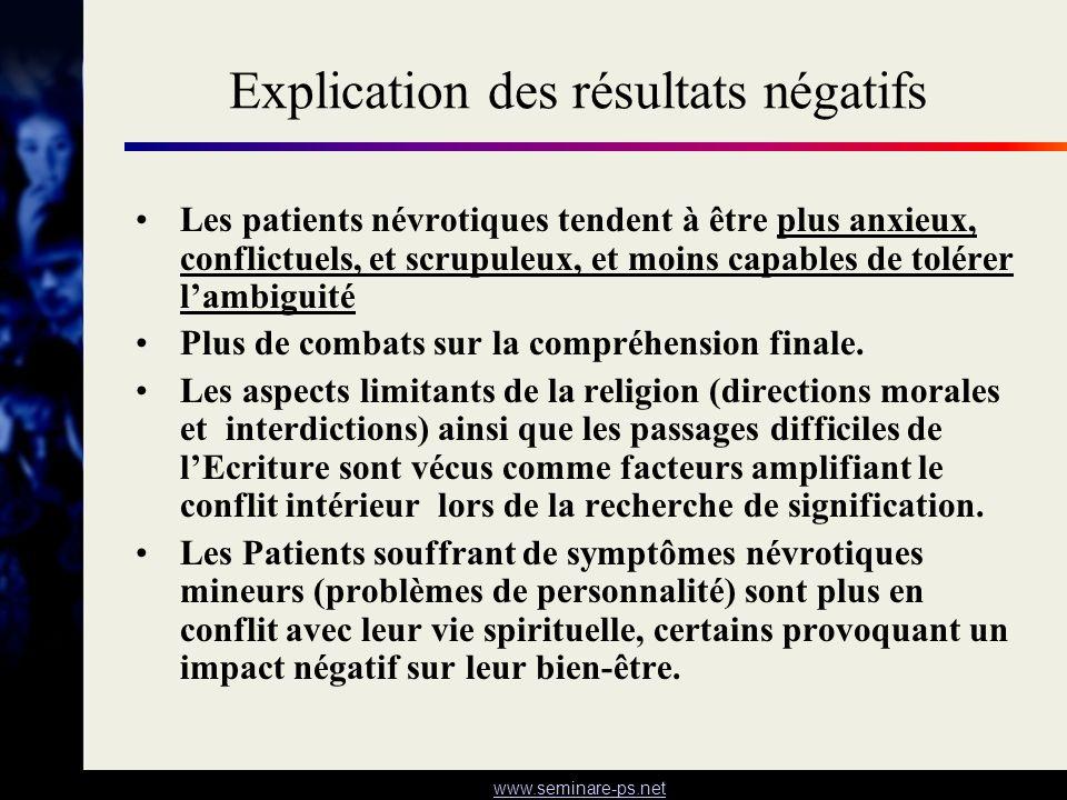 www.seminare-ps.net Explication des résultats négatifs Les patients névrotiques tendent à être plus anxieux, conflictuels, et scrupuleux, et moins cap