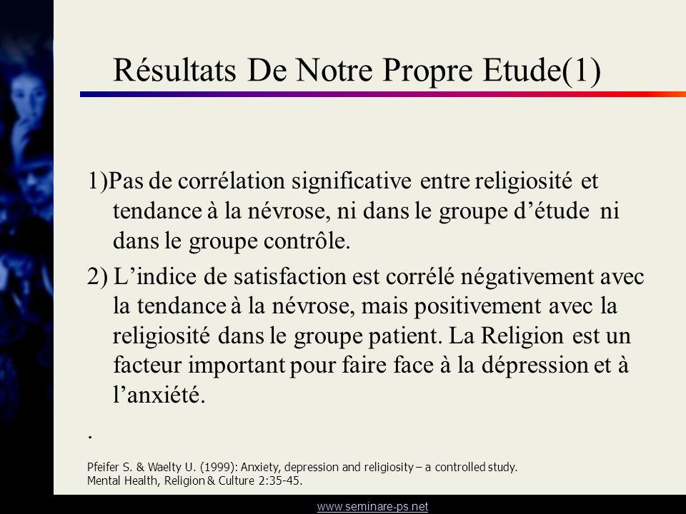 www.seminare-ps.net Résultats De Notre Propre Etude(1) 1)Pas de corrélation significative entre religiosité et tendance à la névrose, ni dans le group