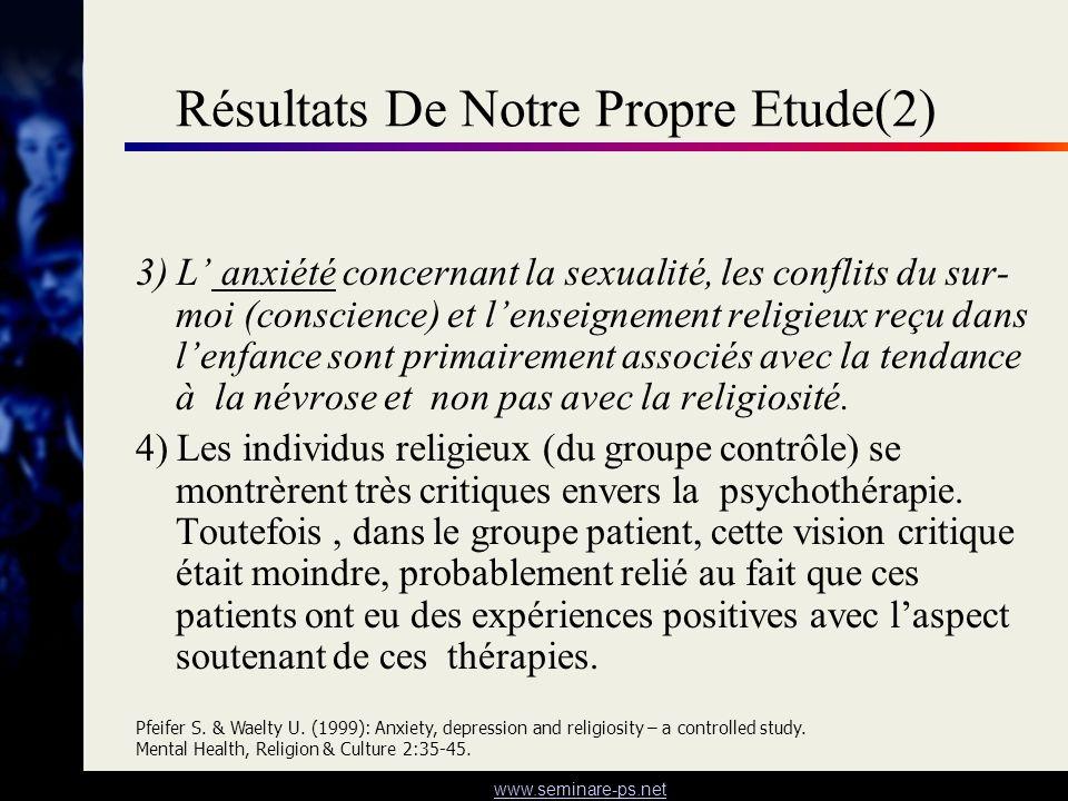 www.seminare-ps.net Résultats De Notre Propre Etude(2) 3) L anxiété concernant la sexualité, les conflits du sur- moi (conscience) et lenseignement re